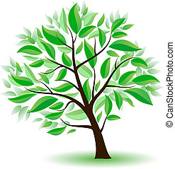 stilizzato, albero verde, leaves.