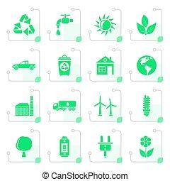 stilizzato, ambiente, ecologia, icone