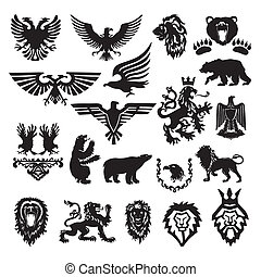 stilizzato, araldico, vettore, simbolo