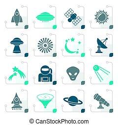 stilizzato, astronautica, spazio, universo, icone