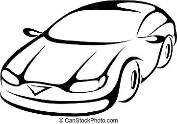 stilizzato, automobile, cartone animato
