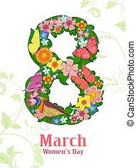 stilizzato, foglie, forma, wi, farfalle, fiori, otto