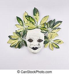 stilizzato, foglie, maschera, tropicale, fondo., palma, bianco