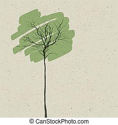 stilizzato, fondo., astratto, albero., vector.