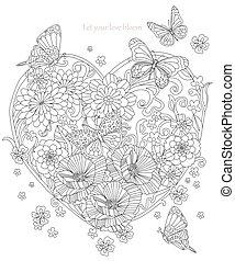 stilizzato, forma cuore, fiori, farfalle, volare