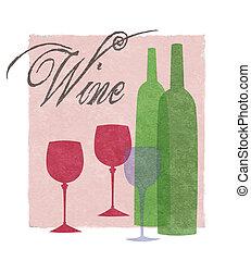 stilizzato, grafico, bottiglie, occhiali, vino