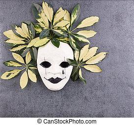 stilizzato, grigio, foglie, maschera, tropicale, fondo., palma