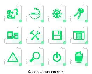 stilizzato, programmazione, domanda, sviluppatore, icone