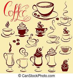 stilizzato, serie caffè, icone, schizzo, simboli, campanelle