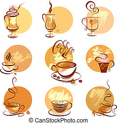 stilizzato, serie caffè, ristorante, campanelle, menu., icone, schizzo, simboli, caffè, o