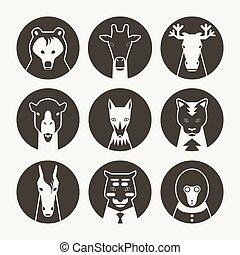 stilizzato, set, avatar, animale