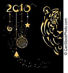 stilizzato, simbolo, tiger, anno, scheda natale