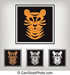 stilizzato, tiger., silhouette