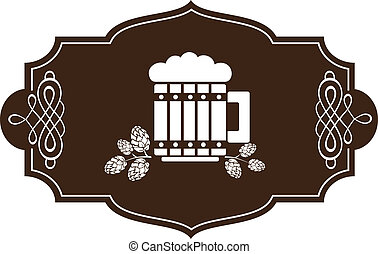 stilizzato, vetro, birra, rami, luppolo
