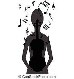 stilizzato, violino, note, donna, musicale