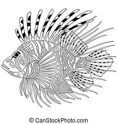 stilizzato, zentangle, fish