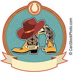 stivali, cappello, cowboy, etichetta