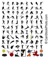 stock., sportivi, illustrazione, silhouette, vettore, 100