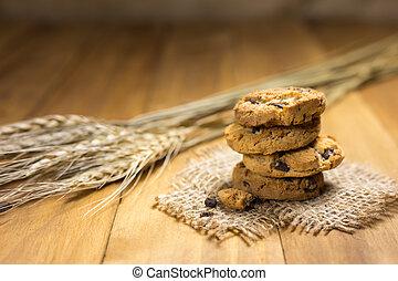 stoffa, biscotti, wood., sacco, cioccolato
