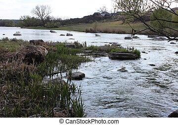 stones., granito, fiume, steppe., grande, natura