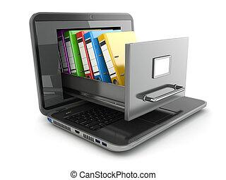 storage., laptop, binders., gabinetto, file, anello, dati