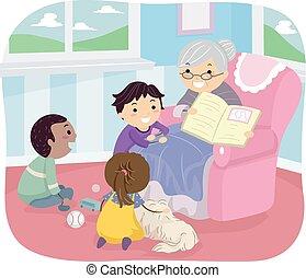storia, bambini, stickman, libro