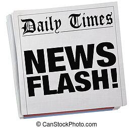 storia, lampo, illustrazione, giornale, notizie riferiscono, articolo, titoli, 3d