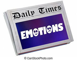 storia, titolo, azione, esperienza, sentimenti, giornale, illustrazione, emozioni, articolo, 3d