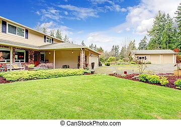 storia, veranda, colonna, casa, attaccato, due, garage, aperto