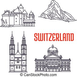 storico, sightseeings, costruzioni, svizzera