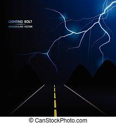 strada, astratto, lampo, vettore, bullone, fondo, notte