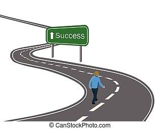 strada, camminare, concetto, vittoria, successo, asfalto, segno freccia, viaggio, verde, mete, modo, curvo, bianco, ottenere, autostrada, uomo