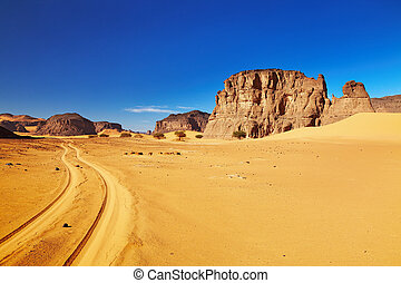 strada, deserto, algeria, sahara, tadrart