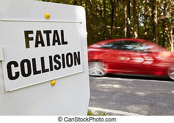strada, fatale, prossimo, incidente, collisione, occupato, segno, scena