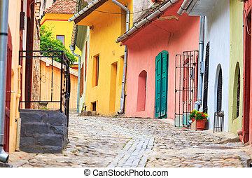 strada, medievale, founded, colonists, sighisoara, saxon, vista