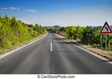 strada montagna, curvo