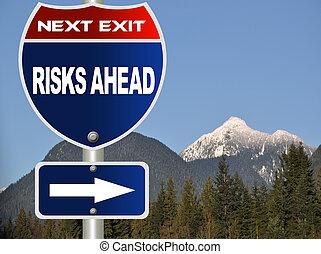 strada, rischi, segno, avanti