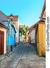 strada, sighisoara, medievale, colorfull