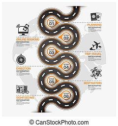 strada, viaggio lavoro, curva, diagramma, infographic, tracciato, strada
