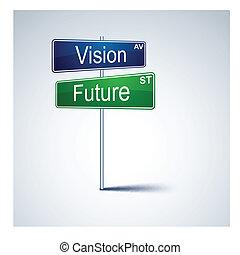 strada, visione, segno., direzione, futuro