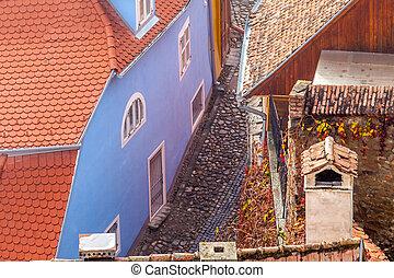 strada, vista, medievale, transylvania, sighisoara