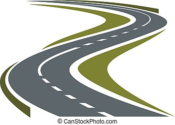 strada winding, pavimentato, o, autostrada, icona