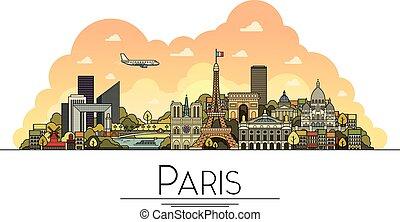 strade, città, francia, arte, turista, costruzioni, popolare, viaggiare, parigi, cattedrali, uno, simboli, la maggior parte, vettore, illustrazione, destinazioni, linea, limiti, icon., architettura
