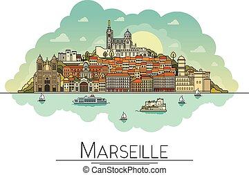 strade, città, limiti, vettore, arte, turista, costruzioni, popolare, viaggiare, cattedrali, uno, francia, la maggior parte, marseille, illustrazione, simboli, destinazioni, linea, icon., architettura