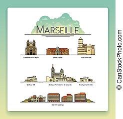 strade, città, vettore, arte, turista, costruzioni, popolare, set., cattedrali, francia, la maggior parte, marseille, architettura, simboli, destinazioni, linea, viaggiare, limiti, icona
