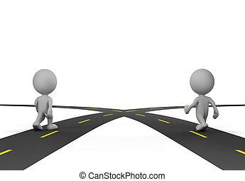 strade, intersezione, due