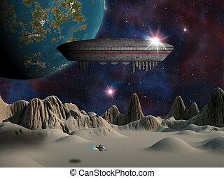 straniero, fantascienza, pianeta, rendition., artist's, scene.