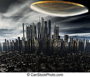 straniero, nave, spazio, 3d, ufo