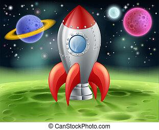 straniero, pianeta, cartone animato, razzo, spazio