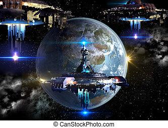 straniero, terra, spaceships, invasione